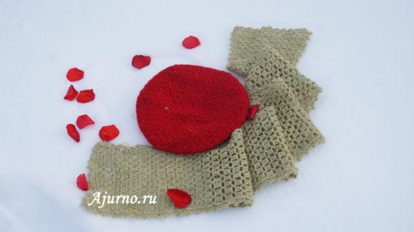 Красный берет крючком шарф оливковый